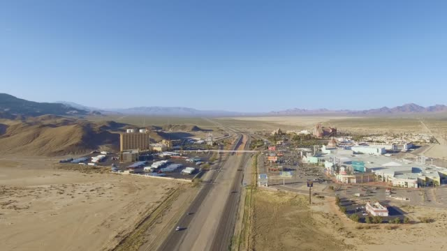 Aerial shot over desert area leaving California and into Nevada video