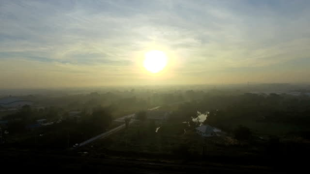 Aerial shot over lush green fields and meadows in the Thailand countryside video