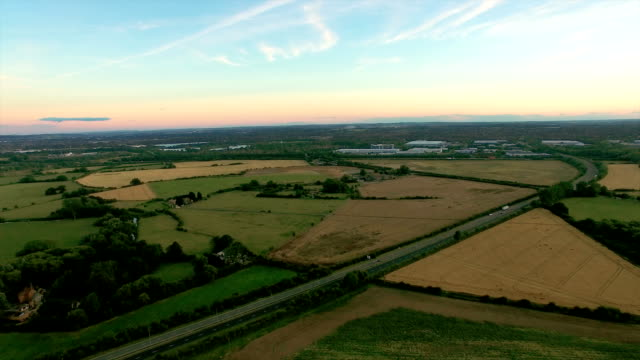 Aerial Shot Over Lush Green Fields And Meadows video