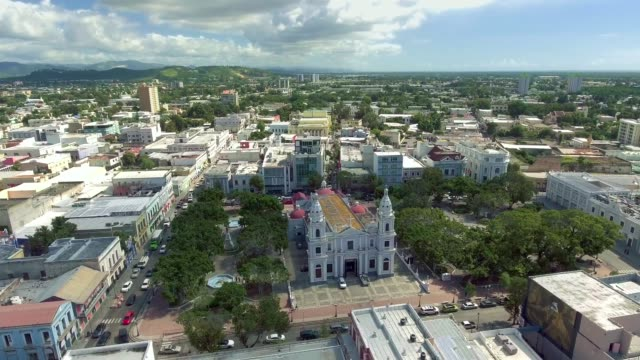 Aerial shot over Ponce, Puerto Rico moving in towards the town center video