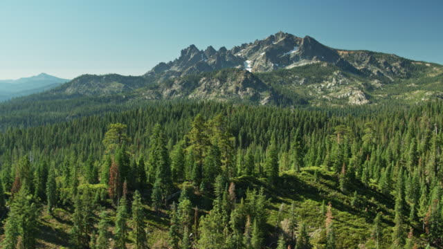 Aerial Shot Over Tahoe National Forest Approaching Sierra Buttes