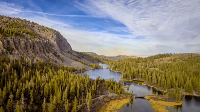 Aerial Shot over Twin Lakes in Mammoth Lakes, California