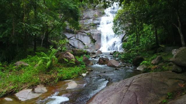 Aerial shot tone prew waterfall in satun south Thailand video