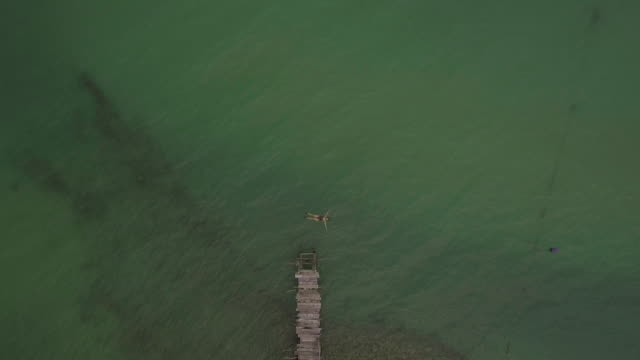 aerial shot woman swimming alone in the sea