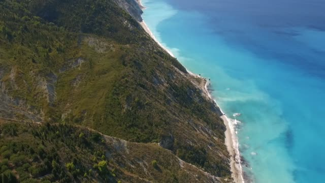 Aerial Shots of Lefkada Island Greece Kalamitsi Beach and Ionian Sea greek islands stock videos & royalty-free footage