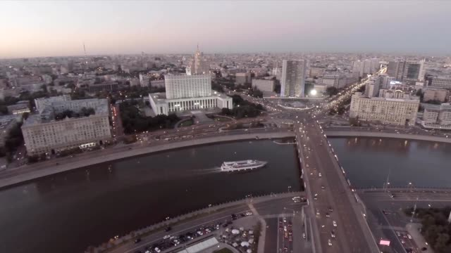 Aerial shots of the House of the Government of the Russian Federation (the White House) and the Moskva River embankment. Moscow. Russia video