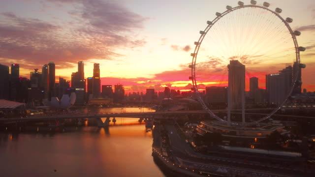 Aerial Singapore City at Dusk