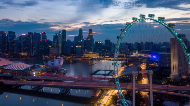 aerial singapore city view at dusk - singapore architecture stock videos & royalty-free footage