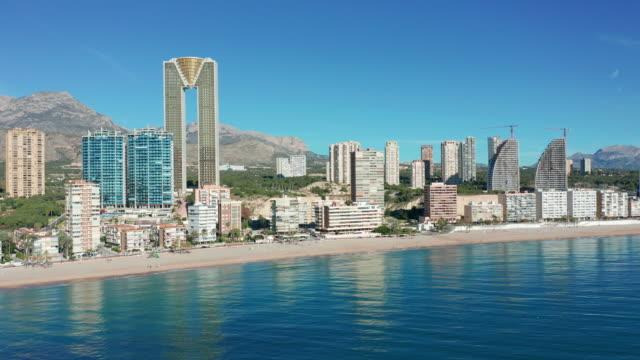 Lucht skyline van Benidorm, Spanje. Benidorm Seaside video