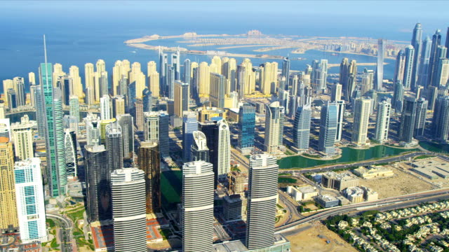 Aerial Skyline view Dubai city video