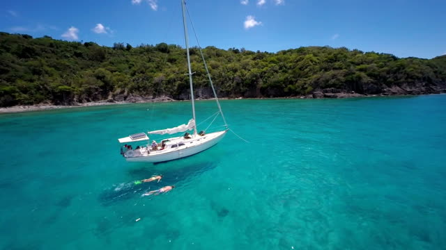 aerial slow motion video of couple snorkeling in the Caribbean video