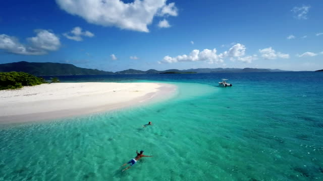 aerial slow motion video of Sandy Spit, British Virgin Islands video