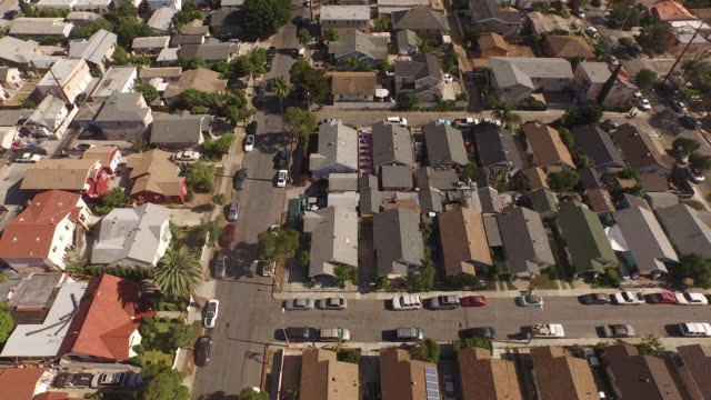 Aerial Slow Tilt Up Over Long Beach, California Neighborhood video
