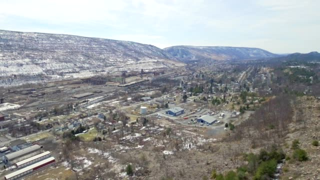 Aerial small town in valley video