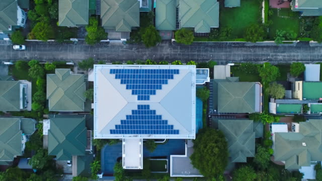 Aerial solar panels on a roof