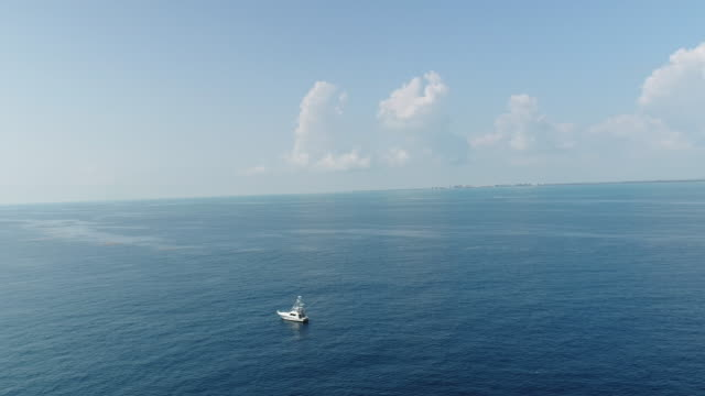 Aerial Sports Fishing Boat in Atlantic Ocean With View of Miami Florida Skyline in Background Aerial Sports Fishing Boat in Atlantic Ocean With View of Miami Florida Skyline in Background tuna seafood stock videos & royalty-free footage