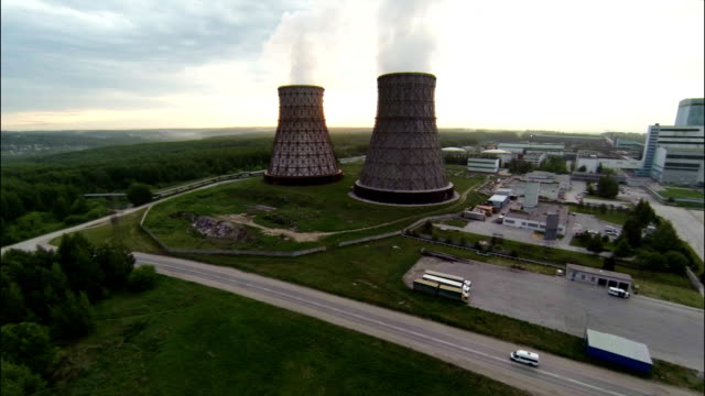 Aerial Stock Footage Cooling Towers of Nuclear Power Plant video