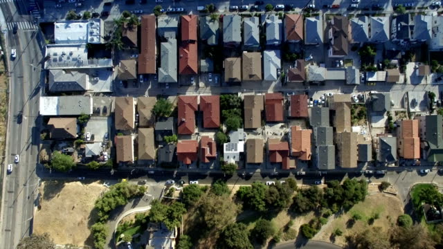 Aerial straight down view of Los Angeles neighborhood and park video