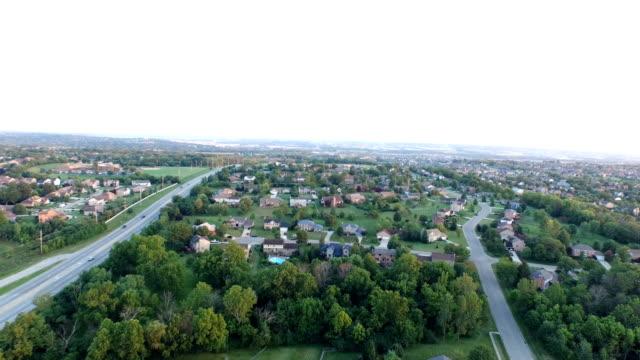 Aerial Suburban Ohio Landscape Over Homes