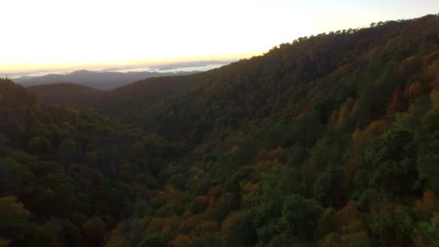Aerial Sunrise Blue Ridge Mountains Autumn video
