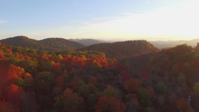 Aerial Sunrise Blue Ridge Mountains Autumn