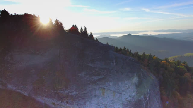 Aerial Sunrise Blue Ridge Mountains Autumn video