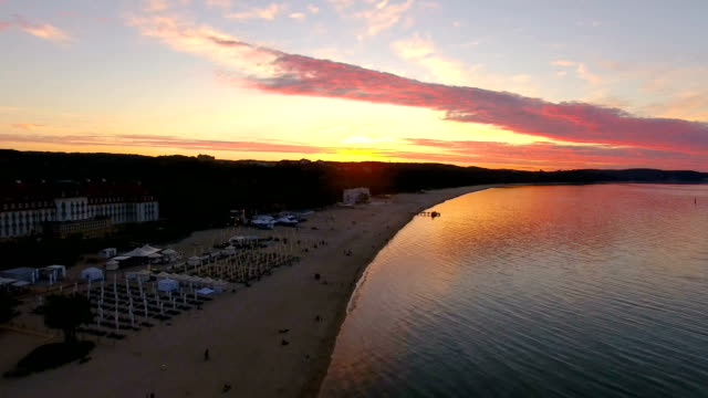 Aerial: Sunset over the sea Aerial, sunset, sea, nature, reflection, summer gdansk stock videos & royalty-free footage