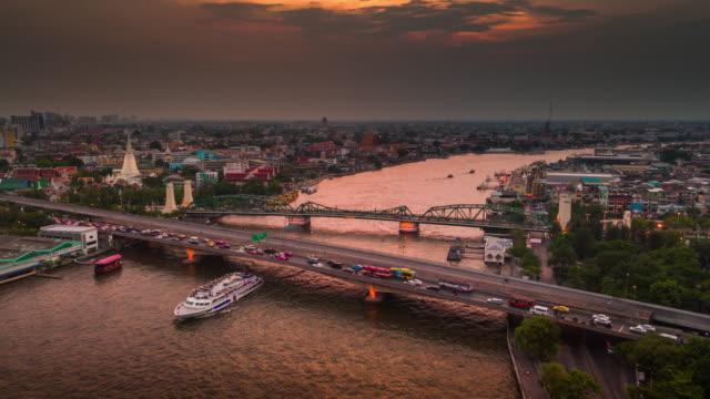 Aerial sunset view of the Phra Phuttha Yodfa Bridge,Bangkok video