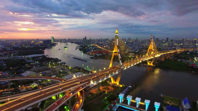aerial sunset view shot of the bhumibol bridge,bangkok - landmarks stock videos and b-roll footage