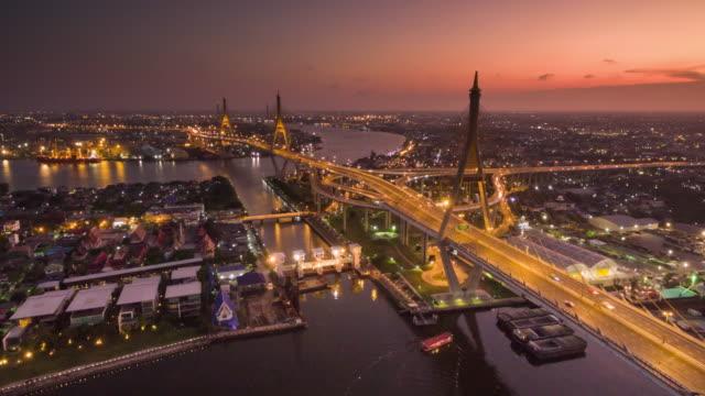 空から見たサンセットビュー プミポン ブリッジの撮影、ハイパーラプス ビデオ