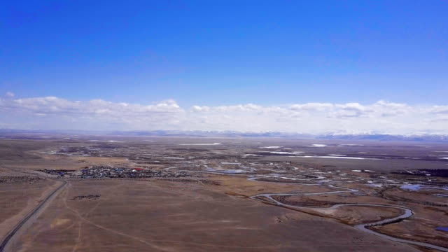 Aerial survey Altai mountains. Beautiful highland landscape. Russia. Siberia. Top view video