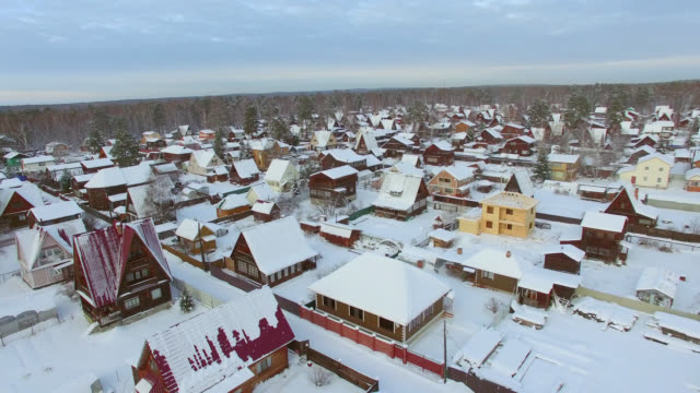 Aerial survey from the air. Winter. Holiday village in Siberia Aerial survey from the air. Winter. Holiday village in Siberia. denmark stock videos & royalty-free footage