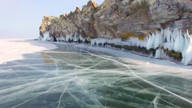 vídeos de stock e filmes b-roll de 4k. aerial survey from the air. winter. lake baikal. small sea. - lago baikal