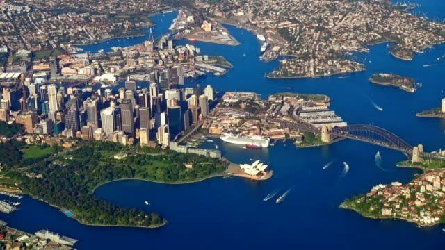 Aerial Sydney Harbor Bridge Australia video
