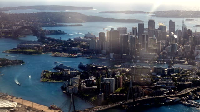 Aerial Sydney Harbor Bridge Australia video