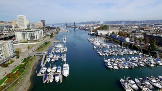 Aerial Tacoma Washington Downtown Waterway video