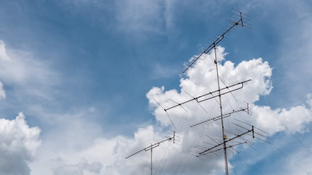 Aerial Television Antenna and Blue Sky, Time Lapse Video