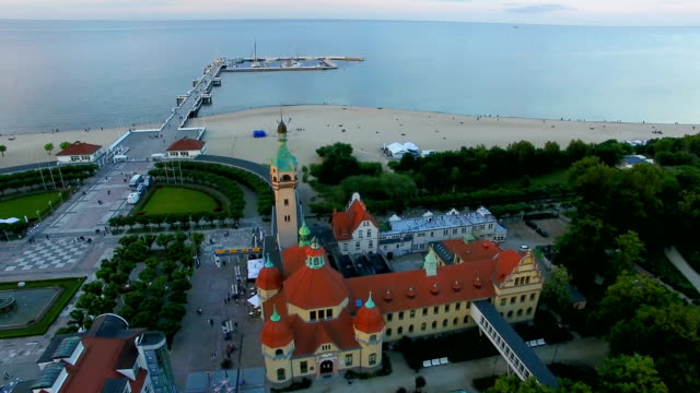 Aerial: The architecture of Sopot on the first coastline Aerial, Poland, Sopot, resort, architecture, beach, summer, gdansk stock videos & royalty-free footage
