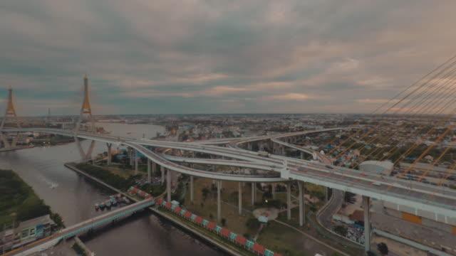 Aerial the Bhumibol Bridge video