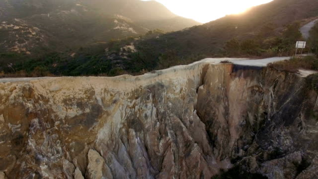 Aerial the Grand Canyon of Por Lo Shan shining in the morning sun A video