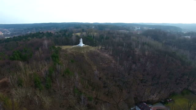aerial: three crosses, vilnius - lituania video stock e b–roll