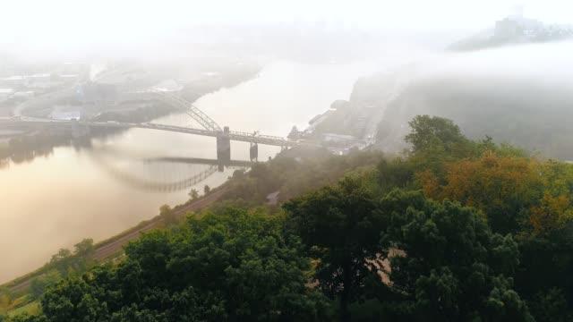 Aerial Tilt Up to Foggy Pittsburgh Skyline video