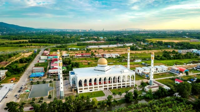 Aerial time lapse in motion or hyper lapse beautiful mosque.