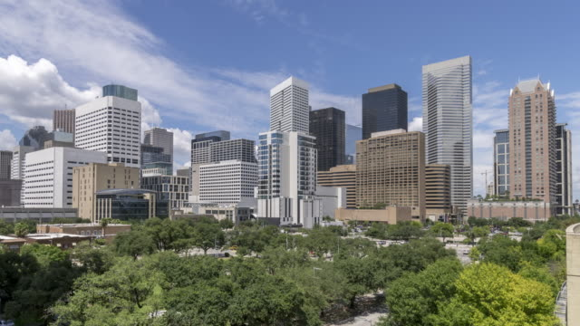 Aerial Time Lapse of Houston Cityscape With Mostly Clear Summer Skies