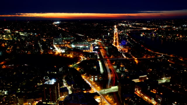 Aerial timelapse, Boston city center at night with zoom video