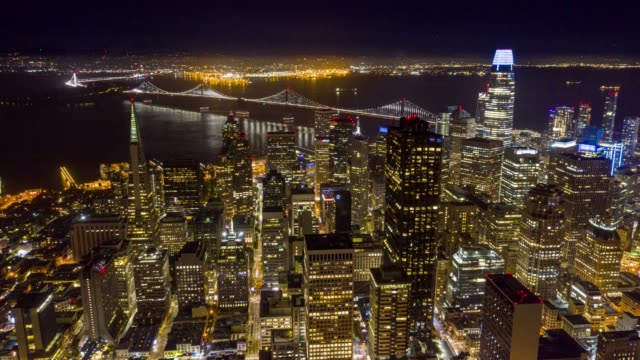 Aerial Timelapse Downtown San Francisco at Twilight