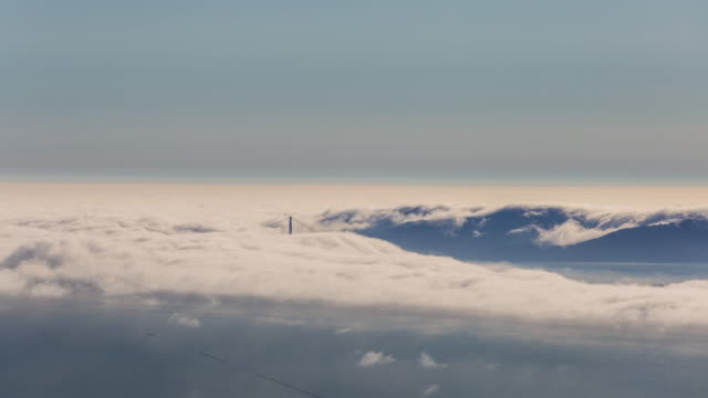 Aerial Timelapse of The Fog Entering The Bay Area by The Golden Gate Bridge video