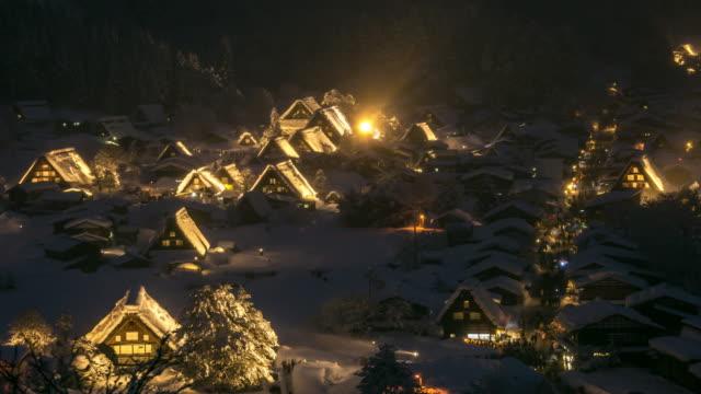 Aerial time-lapse: Shirakawago Gassho-Dukuri, Chubu World Heritage Japan night video
