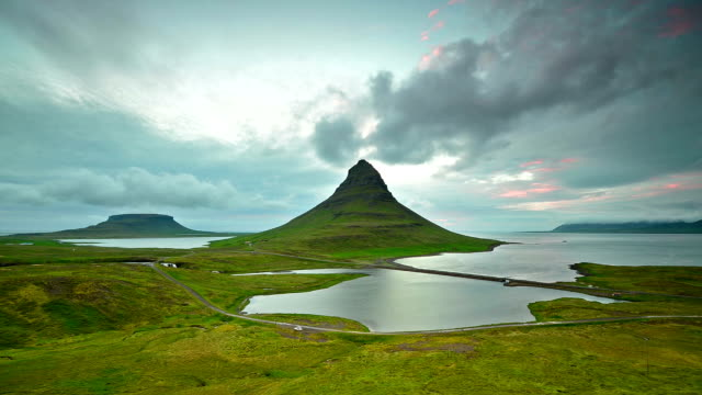 Aerial Timelapse video of Moving cloud at twilight, Kirkjufell mountain video