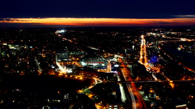 Aerial timelapse view of the Boston Skyline at sunset video